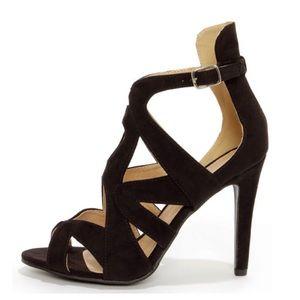 {Zara} Sonya 4 Black Suede Strappy Peep Toe Heels
